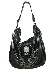 Black Gunmetal Studded Chain Skull Punk Rock Metal Handbag Purse.
