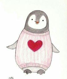 Nursery Decor Penguin Illustration Print Black & White Pastel Pink Red Heart Cute Penguin in Sweater Nursery Art Watercolor Painting Print Penguin Watercolor, Penguin Drawing, Penguin Art, Watercolor Paintings, Painting Art, Penguin Illustration, Sweet Drawings, Diy Y Manualidades, Cute Penguins