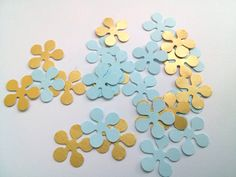 Paper flowers 200 pcs paper flower confetti baby shower baby boy blue and gold baby shower wedding confetti party confetti
