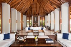 The main living pavilion includes quintessential island architecture, amazing views and soaring ceilings.