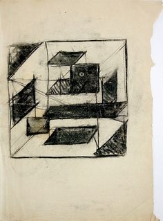 Tesseractic study. 1924. Charcoal and pencil on paper