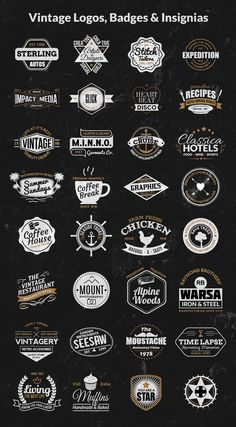 bonus logos badges insignias colored Vintage Logos, Badges, Insignias Kit – Vol.1