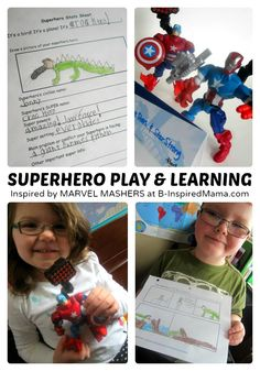 Superhero Inspired Play & Learning + Make Your Own Superhero Printables - #sponsored #MyMashUp #kids #learning #kbn