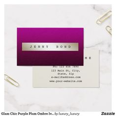 Glam Chic Purple Plum Ombre Ivory Vip Business Card Gift Certificates