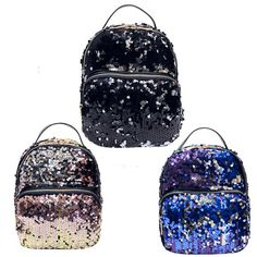 New Arrival Women All-match Bag PU Leather Sequins Backpack Girls Small  Travel Princess Bling Backpacks Bling Mochila Feminina 8177a717b962