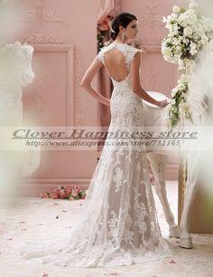 Aliexpress.com: Compre Vestido de Noiva Renda romântico sereia Vestidos de casamento Backless Vestidos de Noiva 2015 Vestidos Brancos em Renda de confiança yoga vestido fornecedores em Clover happiness
