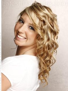 love the coloring! Lots of Curls Medium Length Blonde Style with Fun Waves and Curls