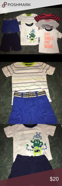"""Boys 7 piece 2t Gymboree bundle Boys 7 piece 2t Gymboree bundle. Smoke free and pet free home. All Gymboree except car shirt which is Crazy 8. Small mark on orange """"A"""" on the smile and wave shirt (see picture). Gymboree Matching Sets"""