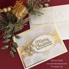 Stampin' Up! Year of Cheer Suite Christmas Cards 2017, Stamped Christmas Cards, Homemade Christmas Cards, Noel Christmas, Christmas Snowflakes, Stampin Up Christmas, Xmas Cards, Christmas Greetings, Homemade Cards