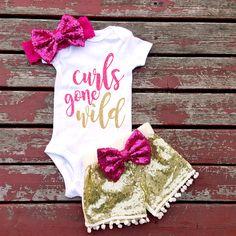 Curls Gone Wild Bodysuit Baby Baby Girls by GLITTERandGLAMshop