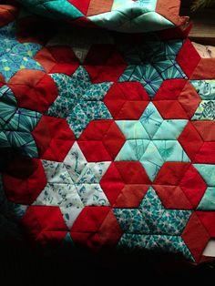Red & aqua parallelograms/stars & hexies