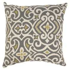 Damask Toss Pillow Collection - Gray/Yellow  Living room accent pillow