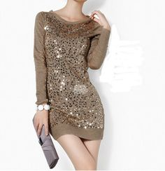 Sequined Sweater Dress
