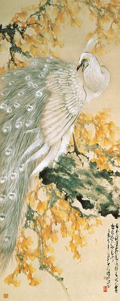 """White peacock"" by Chao Shao-an, 1969 (ink and colour on paper)"