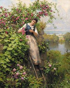 Cutting Roses ~ Daniel Ridgway Knight ~ (American: 1839-1924)