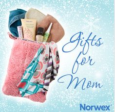 9th of 12 Days of Norwex Christmas with Mom3crazyboyz  GIFTS FOR MOM  Few gifts are better than the gift of relaxation, especially for busy mom's or wives! It includes a Hair Turban to dry wet hair faster, a Makeup Removal Cloth to remove makeup using only water, and our Face and Neck Gel to promote calmness. To create this gift set simply wrap up in a Reusable Produce Bag!  Holiday Gift Guide: for Moms! Make holiday gifting easy with Norwex! For the woman who has everything... try this…
