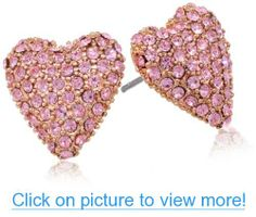 Betsey Johnson Rose Gold Boost Pave Heart Stud Earrings