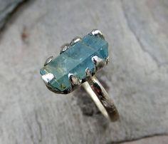 Raw Rustic Uncut Aquamarine rough Sterling Silver by byAngeline, $160.00