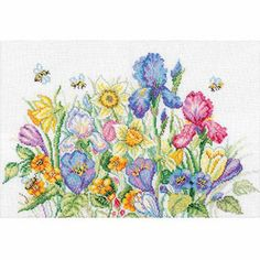 """RTO Garden Flowers Counted Cross-Stitch Kit, 13-3/4"""" x 9-3/4"""", 16 Count"""