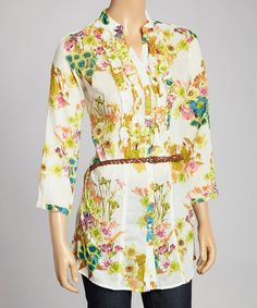 Ivory & Sage Belted Button-Up Tunic by Magazine Clothing