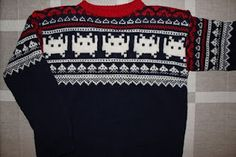 The Marius pattern is a traditional norwegian knitting pattern - here with space invader twist. Made for my sweetheart! Norwegian Knitting, Pixel Characters, Nordic Style, Hobbies And Crafts, Christmas Sweaters, Pattern Design, Knitting Patterns, Knit Crochet, Geek Stuff