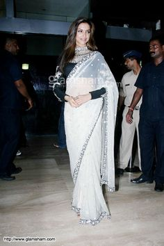 White black Sabyasachi Sarees, Saree Fashion, Stylish Sarees, Saree Styles, Beautiful Saree, Deepika Padukone, Bollywood, Sari, Pictures