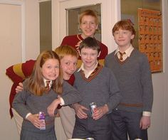Some Weasleys and Seamus Finnigan. Rupert Grint, Bonnie Wright, James Phelps, Oliver Phelps and Devon Murray.