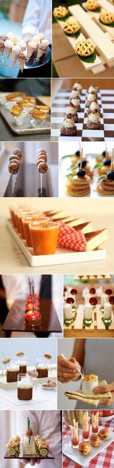 "Mini foods are SO cute! ""Wedding Midnight Snacks- very thoughtful love it! Aperitivos Finger Food, Tapas, Snacks Für Party, Wedding Snacks, Wedding Foods, Wedding Appetizers, Wedding Ideas, Party Fiesta, Midnight Snacks"