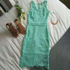 Mint high low lace dress Beautiful dress perfect for summer.  I bought it from Charlotte Russe last year and I had only worn it  3 times. Charlotte Russe Dresses High Low