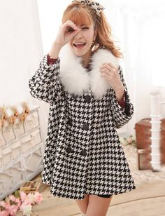 Colligate Style Houndstooth Double-Breasted Wool Coat for Women