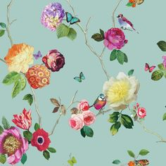 Arthouse 889800 Charmed Teal Bird Floral Bold Wallpaper Paste 2 Rolls for sale online Flores Wallpaper, Bold Wallpaper, Feature Wallpaper, Wallpaper Paste, Butterfly Wallpaper, Print Wallpaper, Beautiful Wallpaper, Butterfly Print, Pattern Wallpaper