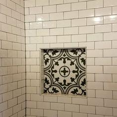 "EliteTile Artea 9.75"" x 9.75"" Porcelain Field Tile & Reviews | Wayfair Tile Shower Niche, Bathroom Floor Tiles, Shower Floor, Upstairs Bathrooms, Farmhouse Bathrooms, Master Bathrooms, Basement Bathroom, Bathroom Interior Design, Bathroom Designs"