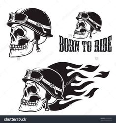 Skull in motorcycle helmet with fire. Born to ride. Retro vector design graphic element, emblem, logo, insignia, sign, identity, logotype, poster. T-shirt print design template. Vector illustration.