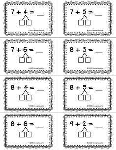 Make a Ten Strategy plastificeren en dan met marker oefenen Addition Strategies, Math Strategies, Math Resources, Math Activities, Go Math, Math Work, Math For Kids, Math Classroom, Kindergarten Math
