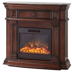 Shop Style Selections 42-in Walnut Corner Electric Fireplace at Lowes.com