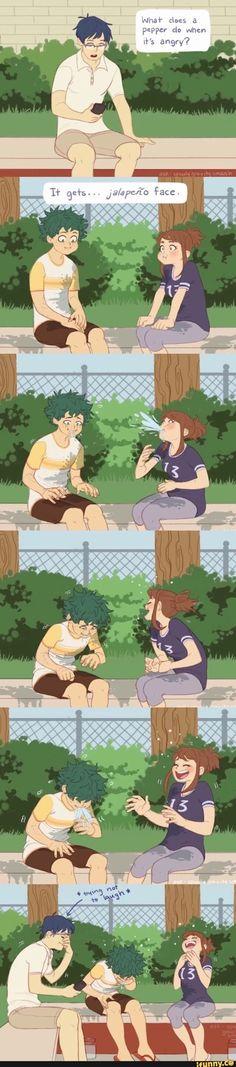 this is adorable. I ship deku and uraraka because their cute as heck. Boku No Hero Academia Funny, My Hero Academia Shouto, My Hero Academia Episodes, Hero Academia Characters, Anime Characters, All Out Anime, M Anime, Fanarts Anime, Anime Guys