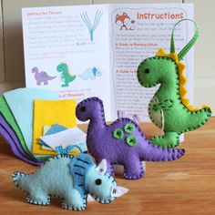 Dinosaur Friends Felt Sewing Kit - Triceratops T-Rex Diplodocus - Perfect for kids and adults - Includes everything you need Dinosaur Crafts