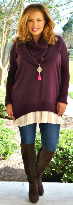 Perfectly Priscilla Boutique - Toasting Mashmallows Sweater  -   Purple, $43.00 (http://www.perfectlypriscilla.com/toasting-mashmallows-sweater-purple/)