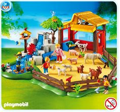 Children´s Zoo  with shelter for the animals, duck pond and water course with turning water wheel. The fences are variable to build up.