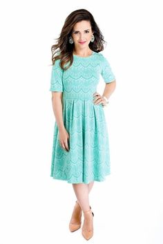 Modest Knee-Length Lace Dress in Turquoise, Bridesmaid Dresses