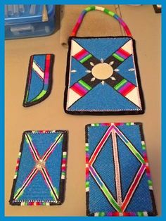 "Fresh off the bead mat, and for sale!!! Beaded belt set and purse backed in broadcloth and all pieces lined in cotton!   The measurements are as follows: Knife sheath: 6"" from opening to point Flint bag: 3""x5"", fits my iPhone 5 snug in its case Larger bag: 4""x6"" Purse: 6.5"" x 9"", beaded handle and white inside so you can see!  #NativeAmerican #Art #Crafts #Preservation"