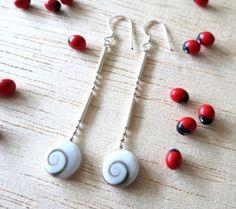 MSS:ES276 > Shiva Shell Heart 10 MM 925 Silver Dangle Earrings Jewelry