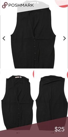 """UNIQLO Black 100% Wool Sweater Vest V-Neckline Sleeveless Tunic top Black Solid Measurements 34"""" Chest, 27"""" Length Materials 100% Wool Condition This item is gently used with minor signs of wear UNIQLO Sweaters V-Necks"""