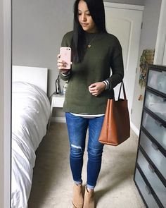 Putting Me Together. White striped long sleeve+ripped jeans+beige ankle boots+khaki knit sweater+brown tote bag+gold necklace. Fall Casual Outfit 2016