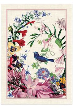 """Inspired by 19th-century natural history prints for the  Horticultural Society of London, this classic confection of  flowers and birds is perfect for celebrating all things  romantic, from courtships and weddings to new homes and  anniversaries. Adds color,  life and warmth to your home. Tea Towel: 100% cotton;  20"""" x 28"""". Machine wash. Romance Foaming  Hand Soap"""