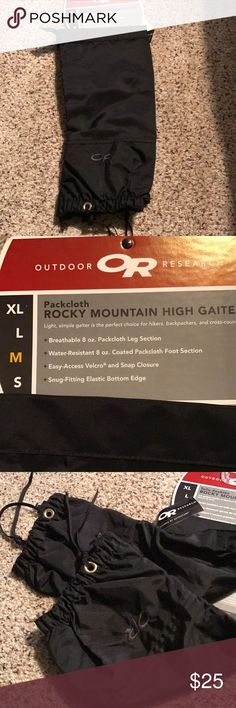 Rocky Mountain gaiters. Blk outdoor wear. Black high gaiters for hikers , backpacking, snowmobiling and cross country skiing. Never worn with tags. Velcro and snap closure. Snug fitting elastic bottom edge. Breathable. Outdoor Research Other