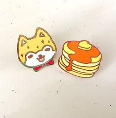 "1.25"" Shiba & Pancake Hard Enamel Pins by FaunnaShop on Etsy https://www.etsy.com/listing/536827428/125-shiba-pancake-hard-enamel-pins"