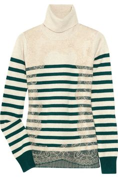 Valentino Appliquéd striped wool-blend turtleneck sweater