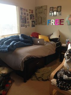 actual location. cynthia's bedroom. bed can be moved away from wall to maximize space.