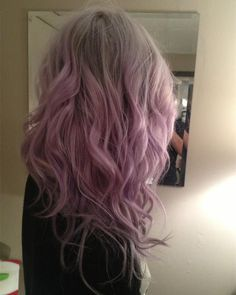 Light gray ombre hair color with pastel pink, cute Smoky Pink Wavy hair